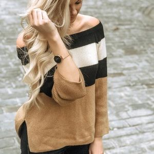 Camel, black and white cozy sweater